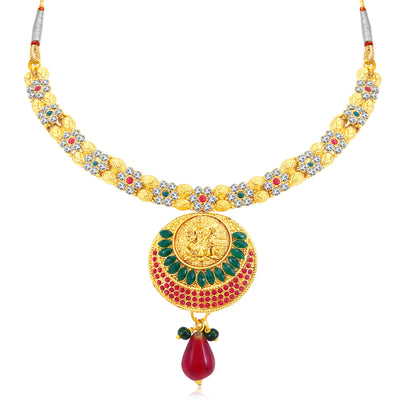 Sukkhi Gorgeous Temple Gold Plated AD Collar Necklace Set For Women-1