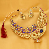 Sukkhi Modish Peacock Gold Plated Collar Necklace Set For Women