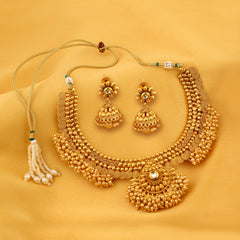 0017 Sukkhi Astonish Jalebi Design Gold Plated Choker Necklace set For Women