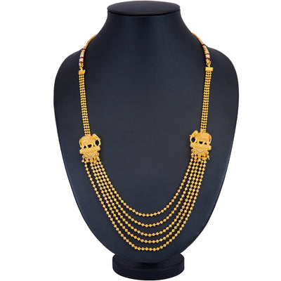 Sukkhi 5 String Elephant Inspired Gold Plated Necklace Set for Women
