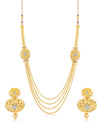Sukkhi Traditional 4 String Oval Gold Plated Necklace set for women