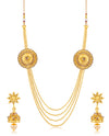 Sukkhi Beguiling 4 String Round Gold Plated Necklace set for women
