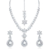 Sukkhi Appealing AD Rhodium Plated necklace set for women