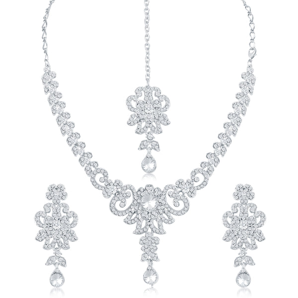 Sukkhi Beguiling AD Rhodium Plated necklace set for women