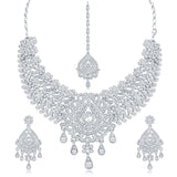Sukkhi Trendy AD Rhodium Plated necklace set for women