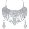 Sukkhi Amazing AD Rhodium Plated necklace set for women