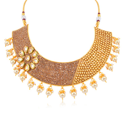 Sukkhi Eye-Catchy Gold Plated Choker Necklace Set for Women