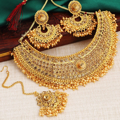 Sukkhi Traditional Gold Plated Kundan Choker Necklace Set for Women