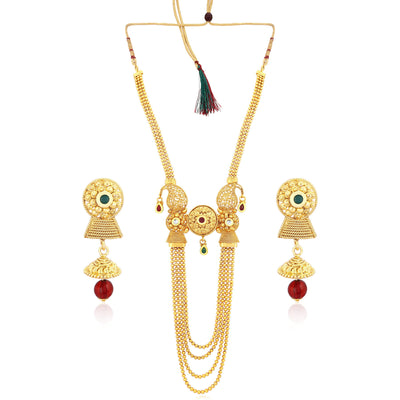 Sukkhi Classy 4 String Gold Plated Necklace Set for women