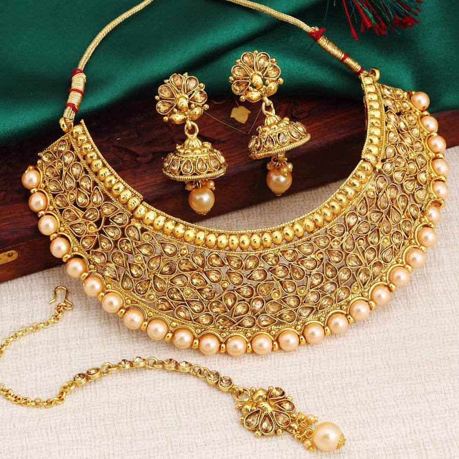 Pearl Jewellery Necklace >> Bridal Jewellery Sets - Sukkhi.com