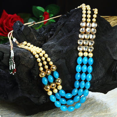 Sukkhi Marvellous Blue Pearl Necklace Mala for women