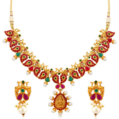 Sukkhi Classy Lakshmi Gold Plated Peacock Necklace Set For Women