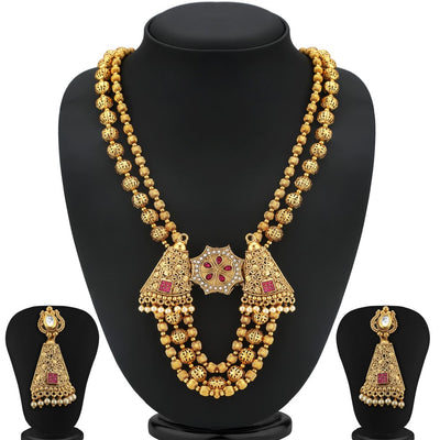 Sukkhi Ravishing Gold Plated Three String Chain Necklace Set For Women