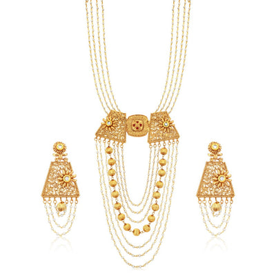 Sukkhi Stylish Seven String Gold Plated Metal Ball Necklace Set For Women