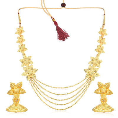 Sukkhi Blossomy 5 String Gold Plated Flower Necklace Set For Women