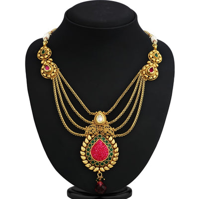 Sukkhi Sleek Gold Plated Ruby Ad Necklace Set For Women