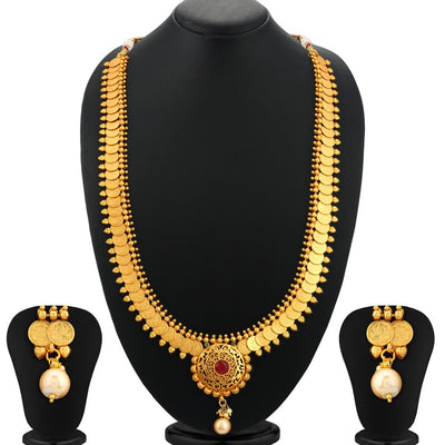 Sukkhi Dazzling Gold Plated Temple Coin Necklace Set For Women