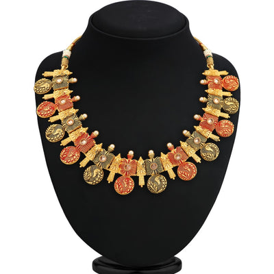 Sukkhi Blossomy Gold Plated Peacock Coin Necklace Set For Women