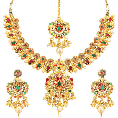Sukkhi Incredible Gold Plated Flower Peacock Necklace Set For Women