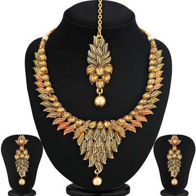 Sukkhi Blossomy Gold Plated Leaf Necklace Set For Women