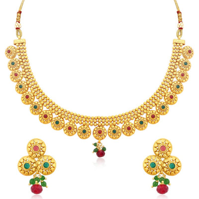 Sukkhi Incredible Gold Plated Ad Stone Necklace Set For Women