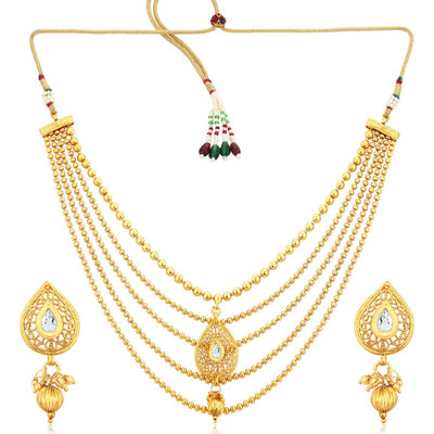 Sukkhi Trendy Gold Plated Five String Necklace Set For Women