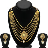 0016 Sukkhi Graceful Gold Plated Seven String Necklace Set For Women