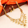 Sukkhi Blossomy 3 String Gold Plated Jhumaki Necklace Set for women