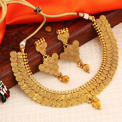 Sukkhi Delightly Gold Plated double line Jalebi Necklace Set For Women
