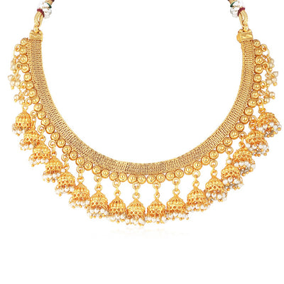 Sukkhi Dazzling Gold Plated Jhumaki Choker Necklace Set for women