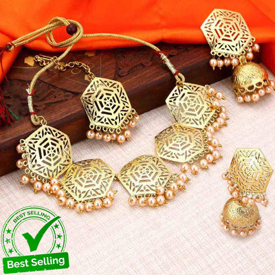 Sukkhi hexagon traditional Designer Gold Plated necklace Set For Women
