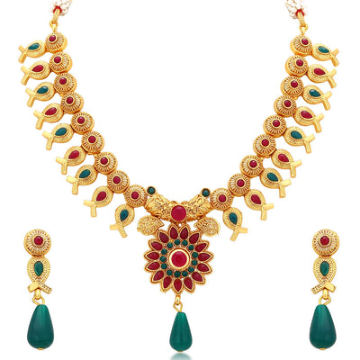 Sukkhi Enchanting Gold Plated Necklace Set For Women
