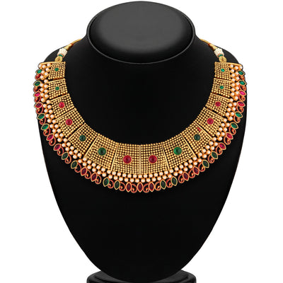 Sukkhi Traditional Gold Plated multicolor stone Neacklace Set For Women