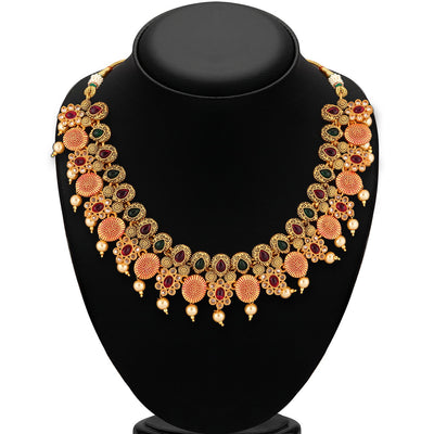Sukkhi Artisan Gold Plated multicolor stone necklace Set for Women