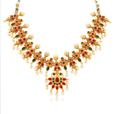 Sukkhi Stunning Gold Plated multicolor Stone Necklace Set for Women