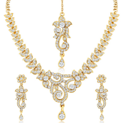 Sukkhi Stunning Gold Plated AD Necklace Set For Women