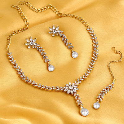Sukkhi Exotic Gold Plated Flower Ad Necklace Set For Women