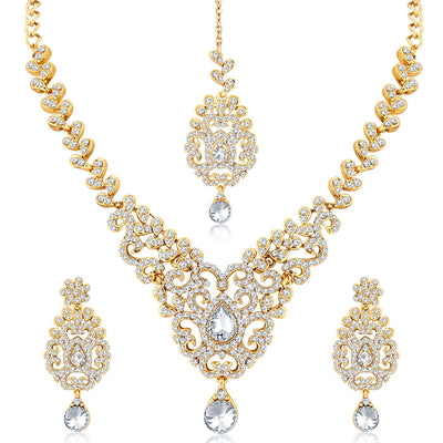 Sukkhi Traditional Gold Plated Stone Necklace Set For Women