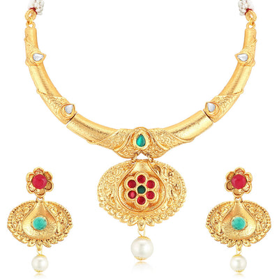 Sukkhi Creative Gold Plated Necklace Set For Women