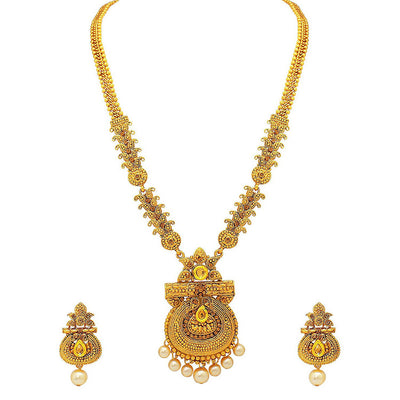 Sukkhi Antique Gold Plated Haram Necklace Set For Women