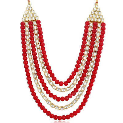 Sukkhi Kundan Astonish Gold Plated Long Haram Red Necklace Set for Women
