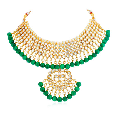 Sukkhi Adorable Kundan Gold Plated Choker Necklace Set For Women