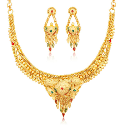 Sukkhi Ritzy 24 Carat 1 Gram Gold Jewellery Necklace Set