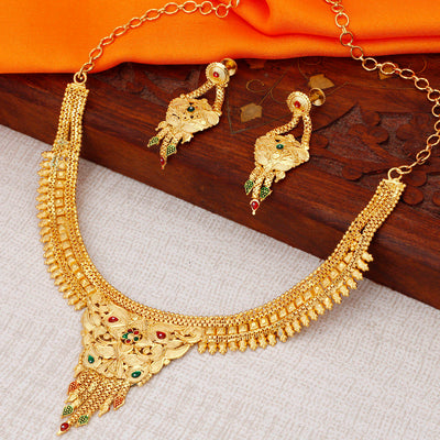 Sukkhi Cluster Alloy 24 Carat 1 Gram Gold Jewellery Necklace Set for Women
