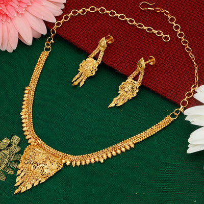 Sukkhi Trendy Alloy 24 Carat 1 Gram Gold Jewellery Necklace Set for Women