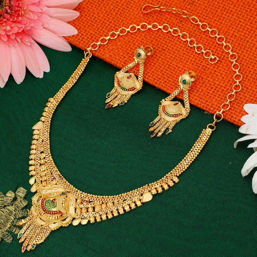 39f4a8cbab Sukkhi Gorgeous 24 Carat 1 Gram Gold Jewellery Necklace Set for Women