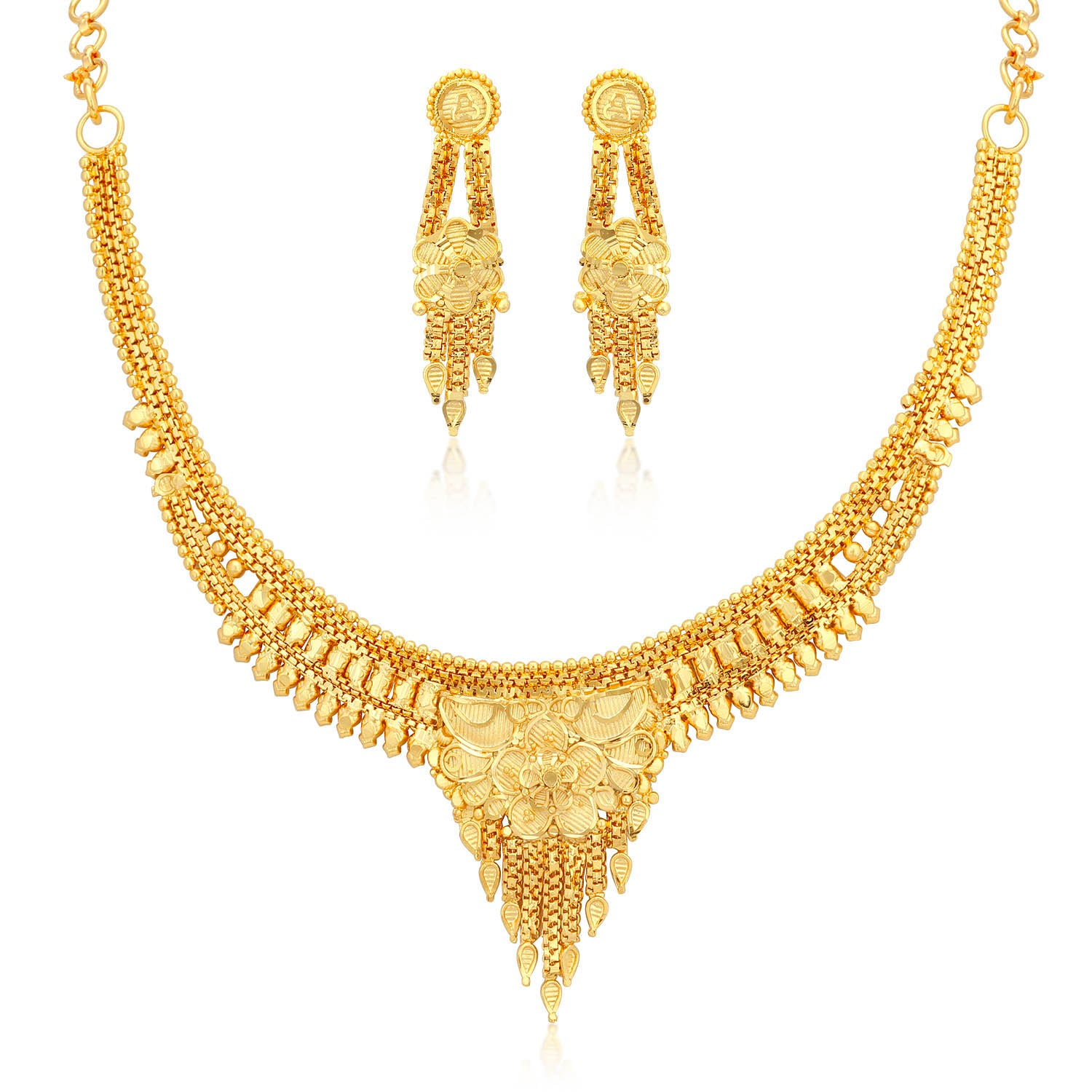 96d57caebd Sukkhi Dazzling 24 Carat 1 Gram Gold Jewellery Necklace Set for Women