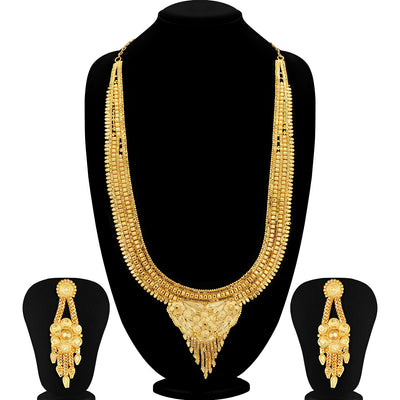Sukkhi Incredible 24 Carat 1 Gram Gold Jewellery Rani Haar Necklace Set for Women