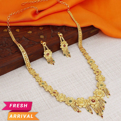 Sukkhi Traditional 24 Carat 1 Gram Gold Jewellery Rani Haar Necklace Set for Women