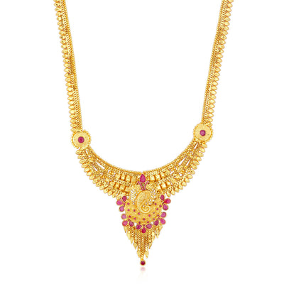 Sukkhi Modern 24 Carat 1 Gram Gold Jewellery Long Haram Necklace Set for Women